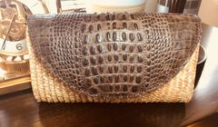 Custom Straw and leather Summer clutch