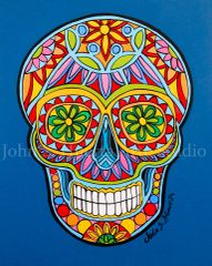 Sugar skull in blue