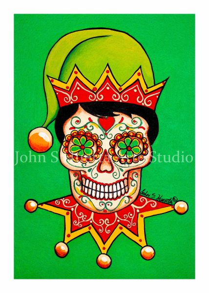 Elf Sugar skull set of 12 Holiday blank greeting cards if interested in mixed set of 12 please message me with details