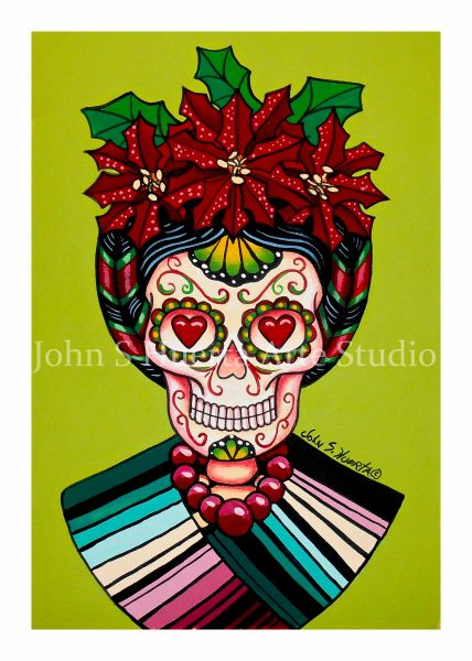 Frida sugar skull set of 12 Holiday blank greeting cards if interested in mixed set of 12 please message me with details
