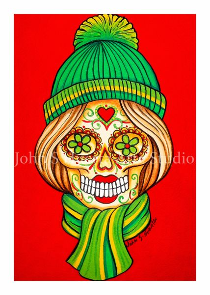 Red scarf and hat sugar skull set of 12 Holiday blank greeting cards if interested in mixed set of 12 please message me with details
