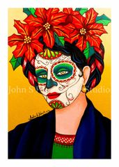 Frida poinsetta set of 12 Holiday blank greeting cards if interested in mixed set of 12 please message me with details