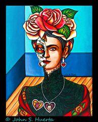 Frida in Black Lace 100% cotton unisex Black T-Shirt