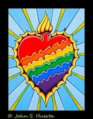 Rainbow Burning Heart 100% cotton unisex Black
