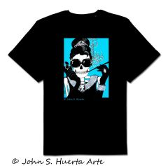Holly in Blue 100% cotton unisex black tshirt