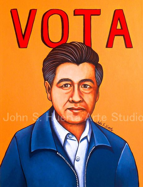 "Cesar Chavez ""Vota"" original acrylic on watercolor paper"