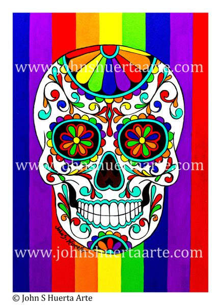 Rainbow Sugarskull acrylic on watercolor paper