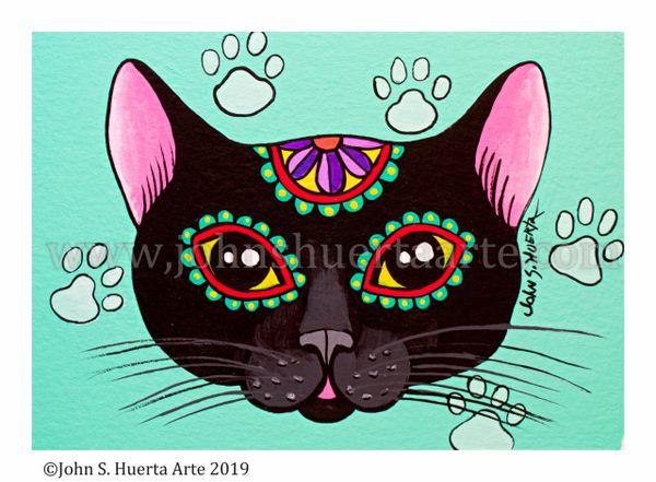 Black sugar skull cat