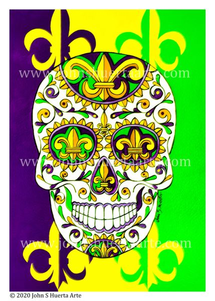 Mardi Gras Sugar skull acrylic on watercolor paper