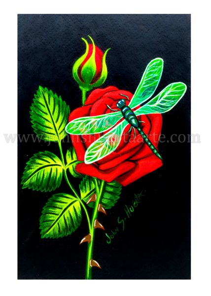 Red Rose with Dragonfly art greeting card