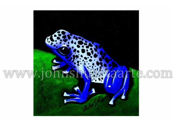 Blue tree frog art greeting card