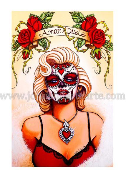 Amor Duele Marilyn Monroe art greeting card