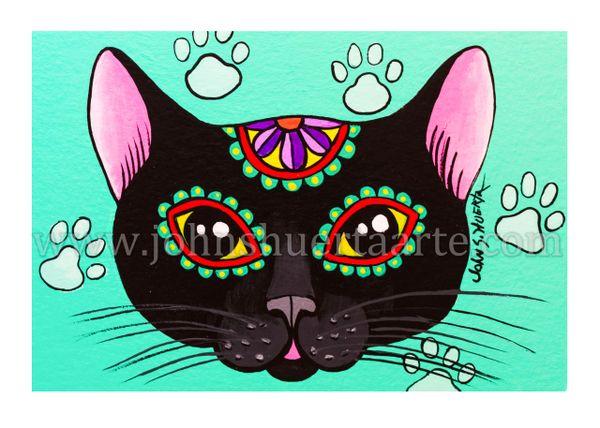 Black cat dia de los muertos art greeting card