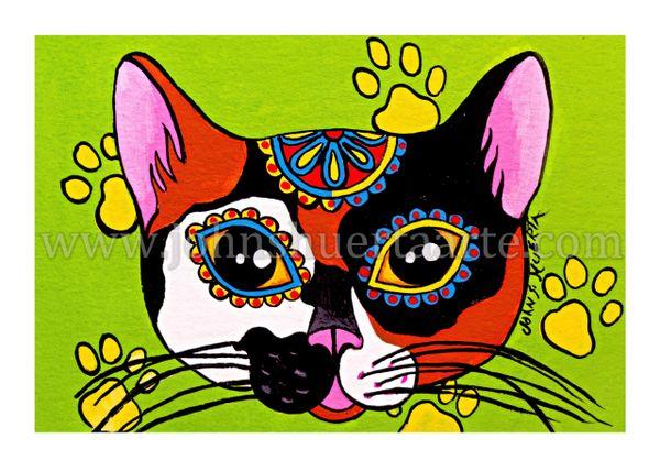 Calico cat dia de los muertos art greeting card