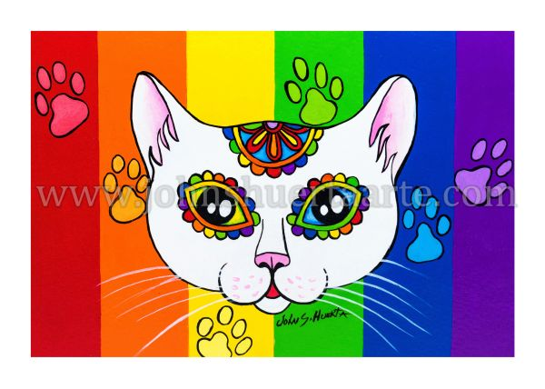 Rainbow white cat dia de los muertos art greeting card