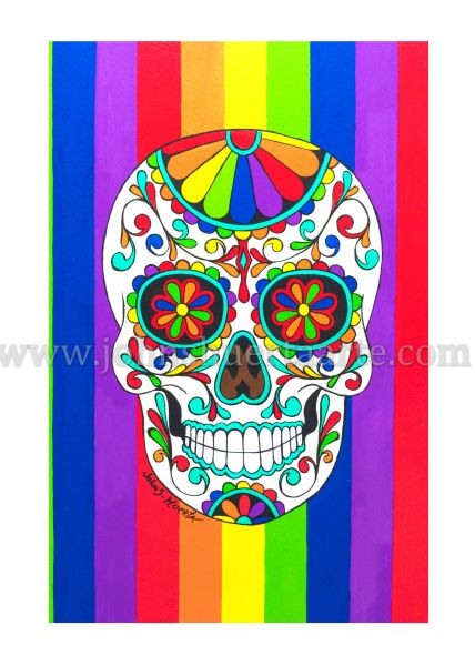 Rainbow Sugarskull art greeting card