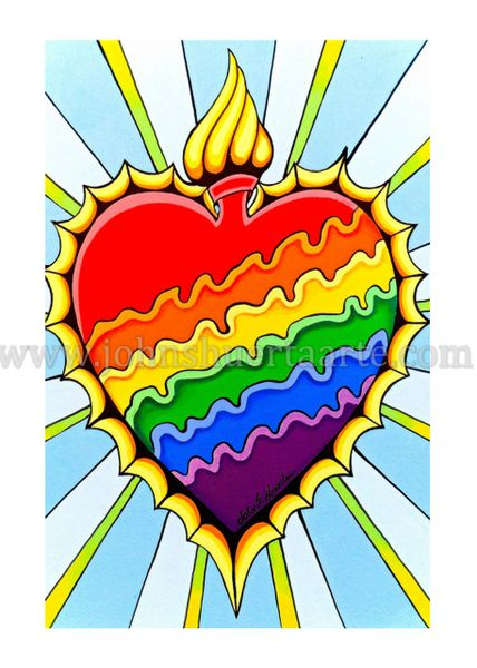 Rainbow Burning Heart art greeting card