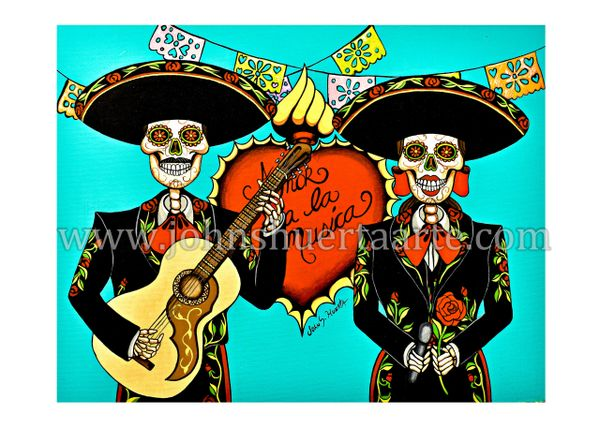 Amor a la musica art greeting card