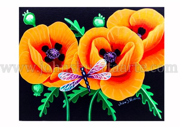 California Poppies and dragonfly II art greeting card