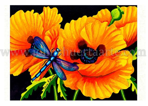 California poppies annd dragonfly I art greeting card