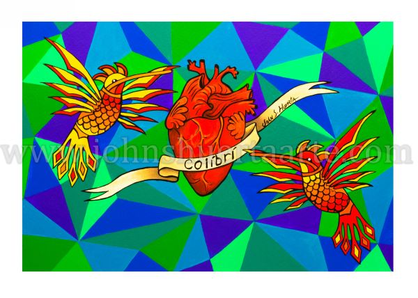 Colibries with Heart art greeting card