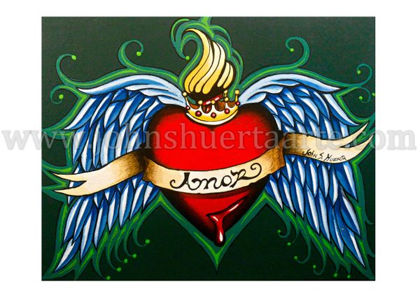 Amor Heart crown and wings art greeting cards