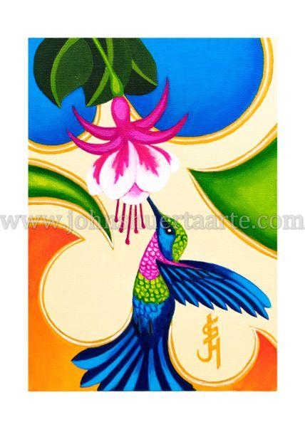 Hummingbird with Fuschia art greeting card