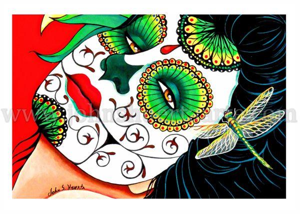 Dehlia art greeting card