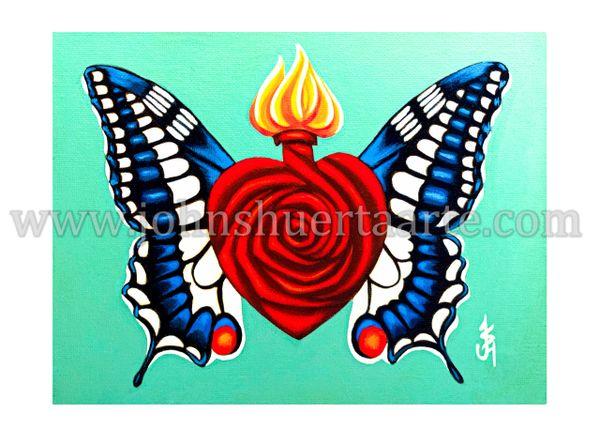 Sacred Rose Heart V art greeting card