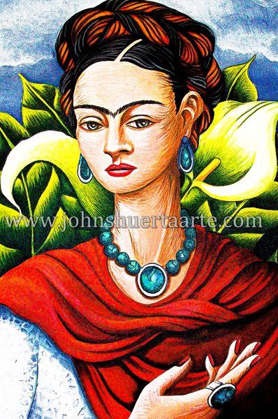 Frida in Calla lily garden art greeting card