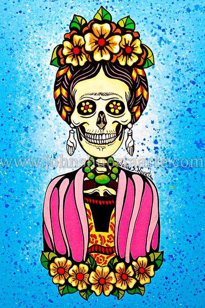 Frida with pink shawl art greeting card