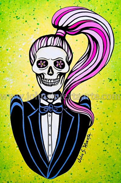 Lady Gaga pink hair art greeting cards