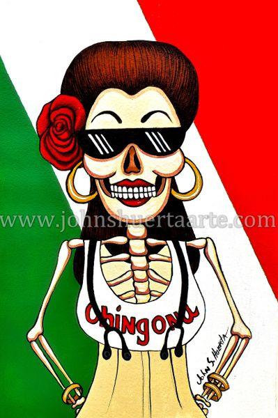 Sugarskull Chingona art greeting card