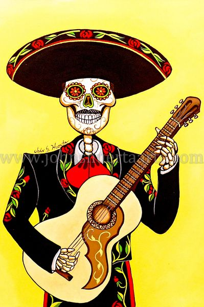 Mariachi guitar player art greeting cards