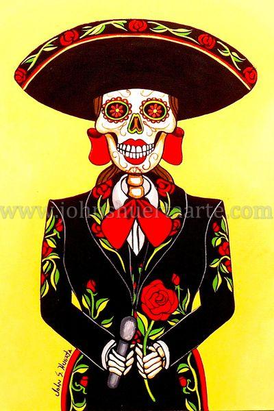 Sugarskull Mariachi singer art greeting card