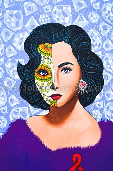 Elizabeth Taylor art greeting card