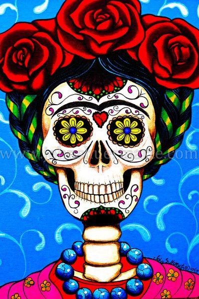 Sugarskull Frida in Blue art greeting card