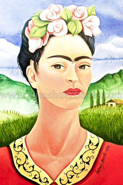 Frida in Meadow art greeting cards