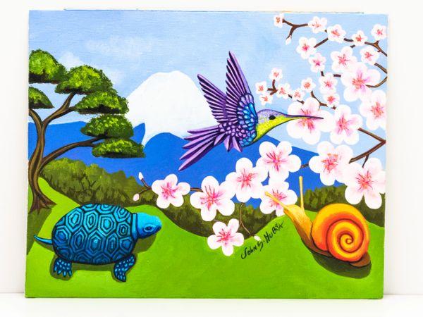 Hummingbird, Snail, turtle and Mount Fuji