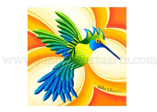 Blue Sapphire Emeral Green Hummingbird