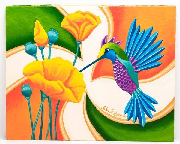 Hummingbird with California Poppies