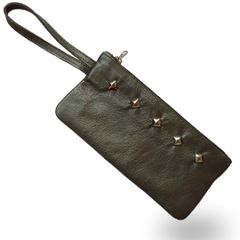 Leather Wristlet - Gray