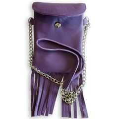Leather Cell Phone Purse with Fringe - Purple