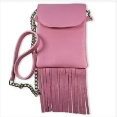 Leather Phone Purse with Fringe - Pink