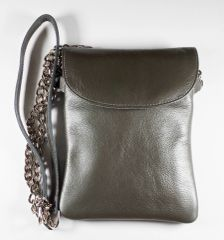 Leather Cell Phone Purse - Gray