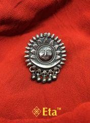 Silver surya ghungroo ring