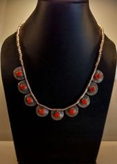 Silver stone tribal necklace