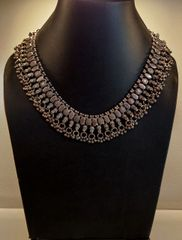 Silver tribal choker necklace
