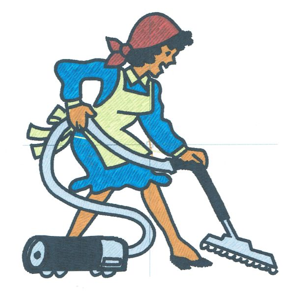 Cleaning Lady Embroidery Design