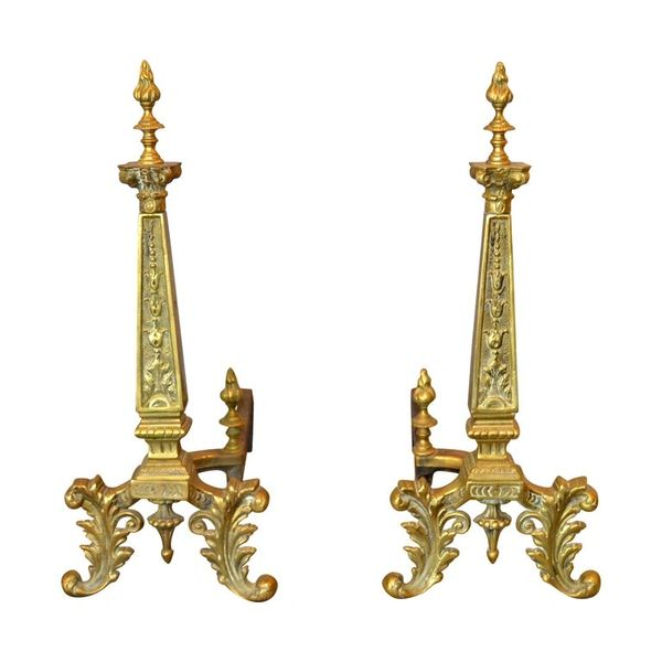 Pair of 20th Century French Neoclassical Column Bronze Andirons